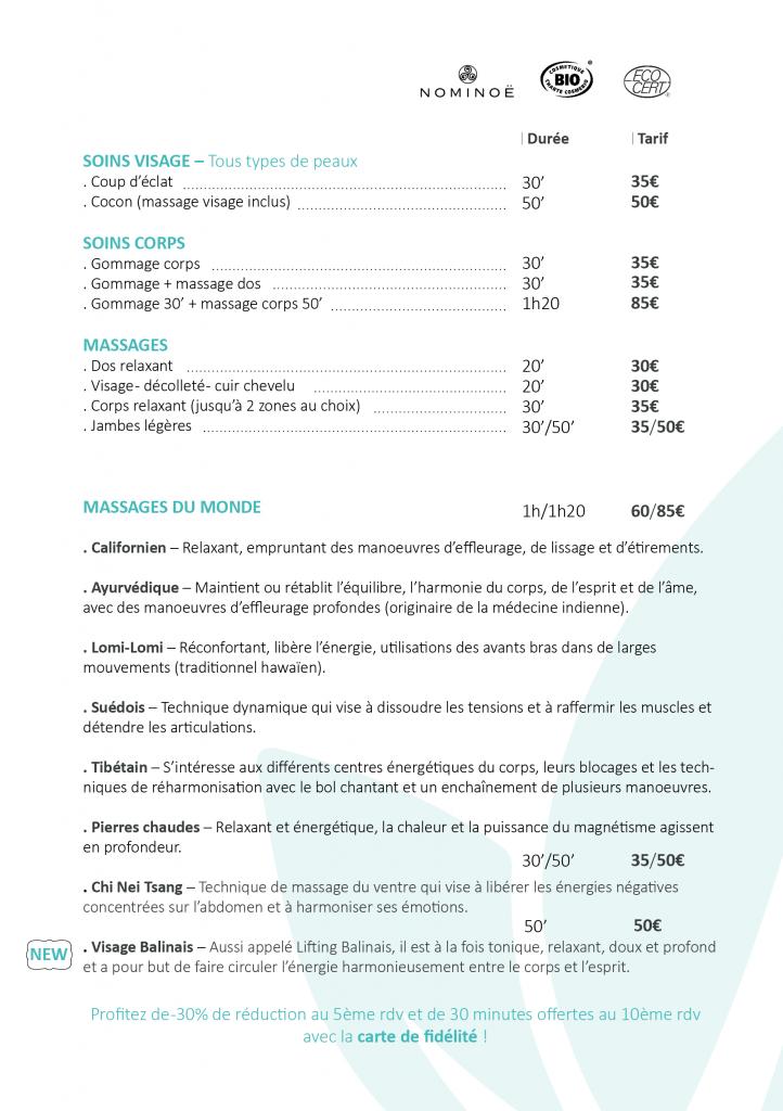 Carte de soins L'échappée belle massage soin beauté particulier professionnel entreprise à domicile soin visage soin corps massage du monde soins mains et pieds réflexologie plantaire massage thaï assis sur chaise ergonomique femme enceinte bébé abonnement chi nei tsang californien balinais lomi lomi ayurvédique gommage pierres chaudes tibétain suédois